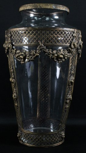 Large Gilt Metal And Crystal Vase