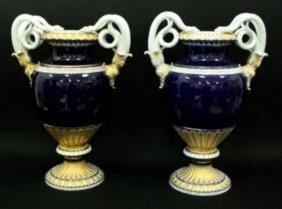 Pair Of Large Meissen Cobalt Vases