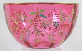 Moser Style Hand Painted/ Enameled Red Bowl