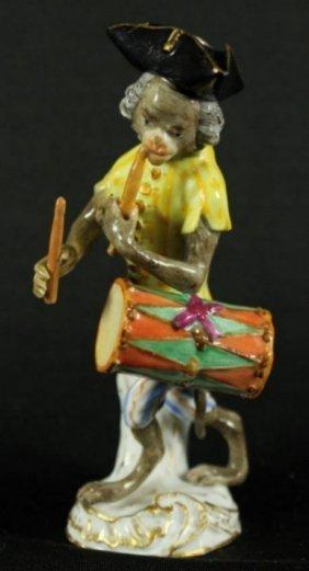 Meissen Figure Of Monkey Band Drummer