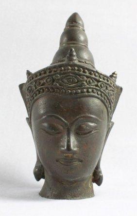 Antique Tibetan Bronze Figural Head Bust