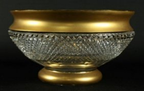 Bronze And Cut Glass Bowl