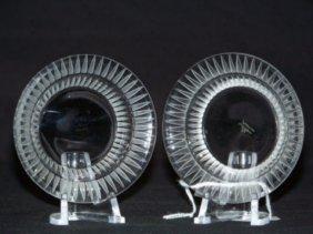 Pair Vintage Lalique France Master Salts
