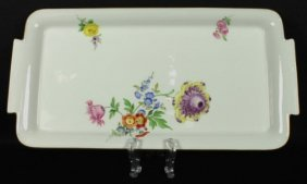 """Large 12"""" Antique 19th C. Meissen Tray"""