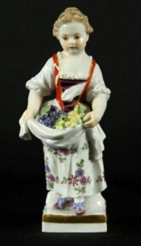 Meissen Figure Of Girl With Fruit