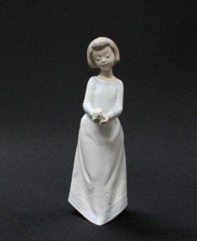 Lladro Figure Of Girl Holding Flower