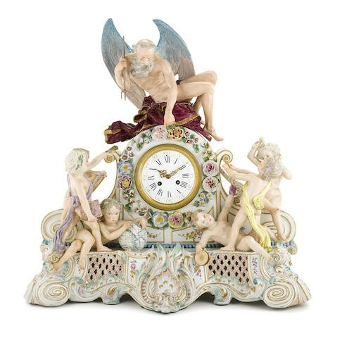 AN IMPOSING CONTINENTAL PORCELAIN FIGURAL MANTEL CLOCK