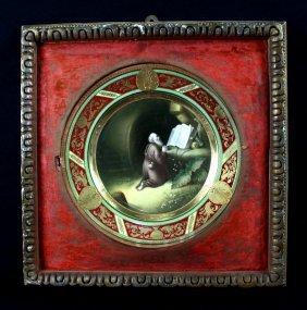 "Antique Dresden Framed Cabinet Plate"" The"