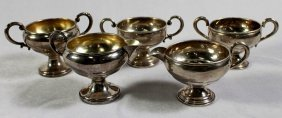 Set Of 3 Sterling Silver Sugar Bowls And 2 Creamers