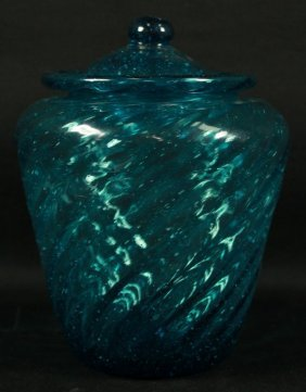 Baccarat Style Blue Jar W/ Cover