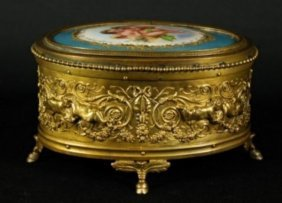 French Ormolu And Porcelain Box