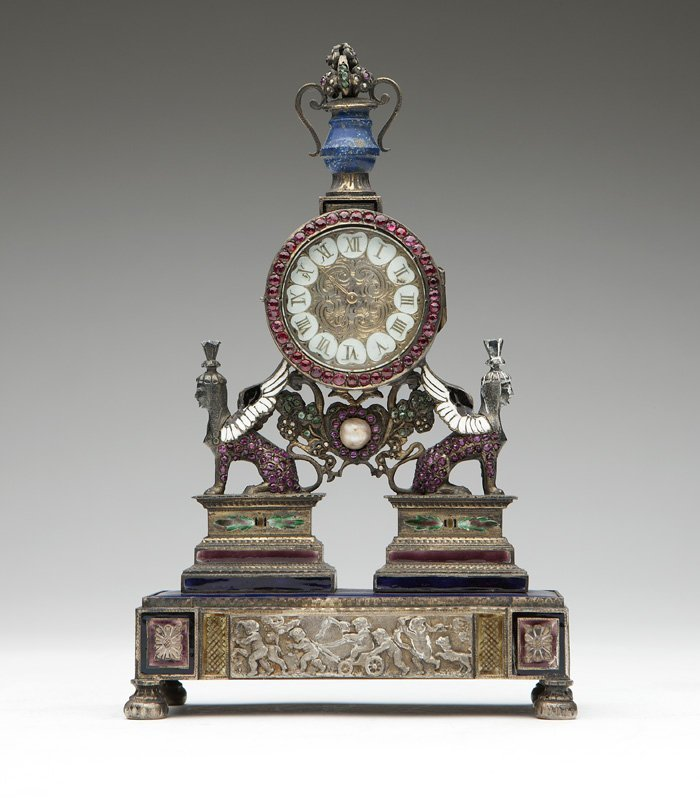 An Empire silver Vienna-style desk clock