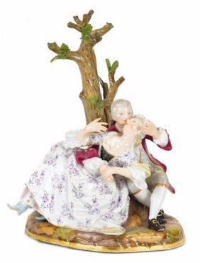 Meissen Porcelain Figural Group Depicting Lovers Before