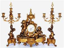 3 PC ITALIAN BRONZE FIGURAL CLOCKSET