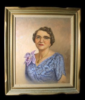 Oil On Canvas Of Elderly Woman Signed Gene Anthony