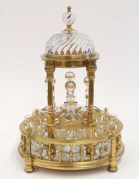 Baccarat France Temple Form Tantalus, Circa 1900