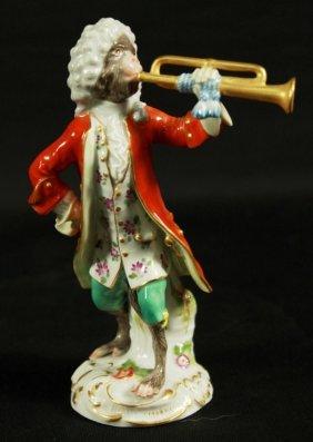 19th C. Meissen Monkey Band Figure