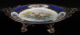 Limoges Porcelain And Bronze Footed Tray