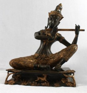 Thai Gilt Bronze Of A Goddess Playing Flute