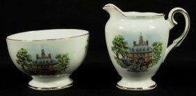 Set Of English Porcelain Sugarpot And Creamer