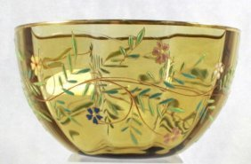 Moser Style Hand Painted/ Enameled Green Bowl