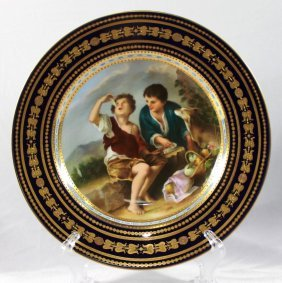 """Royal Vienna Hand Painted Cabinet Plate, """" The Melon"""