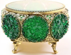 Emerald And Gilt Footed Dresser Box