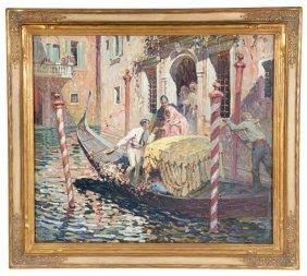 """Glenn Sheffer: """"venetian Gondola"""" Oil On Canvas"""
