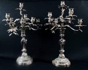 Antique Pair Of Bronze Silver Plate Baroque Style