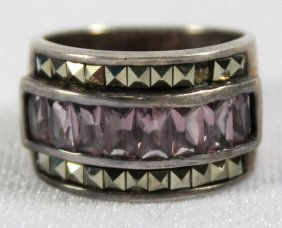 Sterling Band With Synthetic Pink Stones