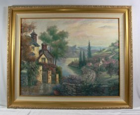 "Antique Painting On Canvas"" Lake Scene"" Signed "" Carl"