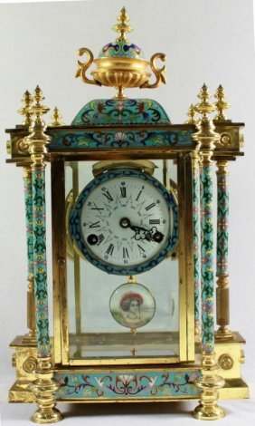 Chinese Cloisonne Enamel Regulator Clock
