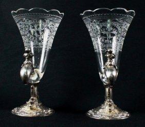 Pair Of German 800 Fine And Crystal Cornucopia Vases