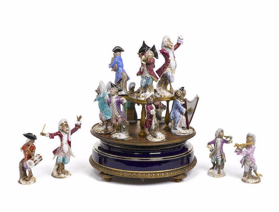 AN ASSEMBLED SUITE OF SIXTEEN MEISSEN PORCELAIN MONKEY