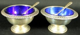 Pair Of Sterling Silver Salt With Base
