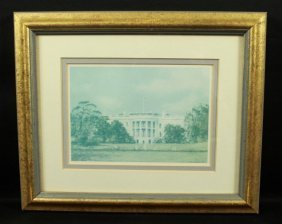 Framed Painting Of White House Signed
