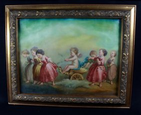 "19th C ""cherubs In Charriot""-oil On Canvas"