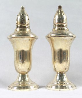 Pair Of Sterling Silver Weighted Salt Shakers