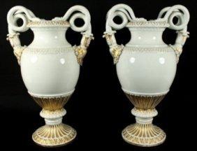 Pair Of 19th C. Meissen Vases