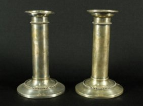 Pair Of Sterling Silver Candle Sticks