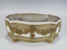 Antique Vienna Porcelain And Bronze Planter