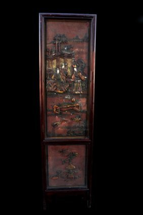 Chinese Glass And Ivory Inlay Screen Panel