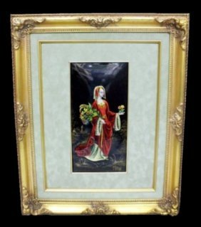 19th Century Limoges Enamel Plaque Of A Maiden Signed