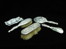 19th C. Five Piece Sterling Silver Dresser Set