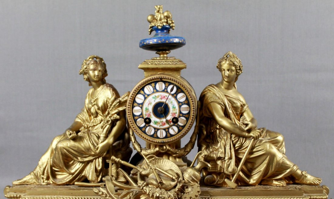 FRENCH BRASS FIGURAL MANTLE CLOCK - 2