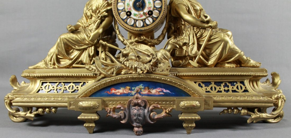 FRENCH BRASS FIGURAL MANTLE CLOCK - 3