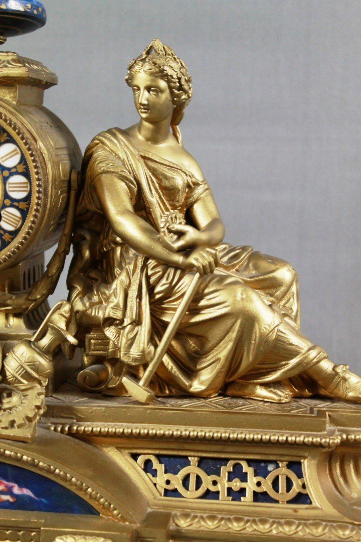 FRENCH BRASS FIGURAL MANTLE CLOCK - 4