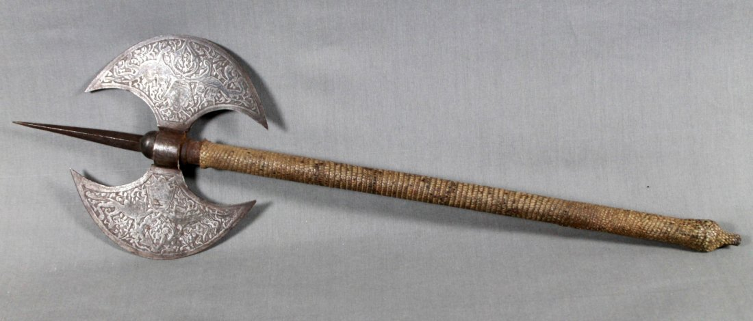 19TH C ENGRAVED SNAKESKIN PERSIAN AXE