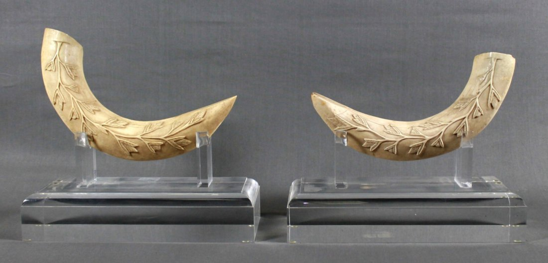 PAIR OF SCRIMSHAWS ON BASE