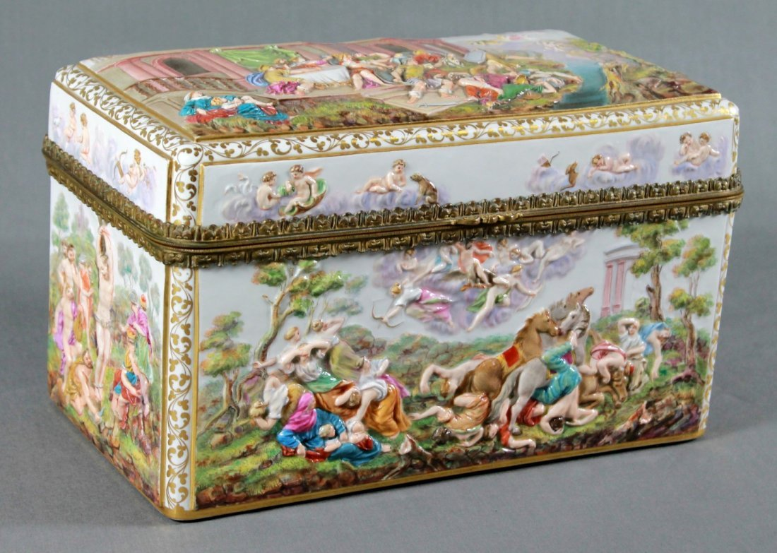 A MEISSEN PORCELAIN TABLE CASKET IN THE CAPODIMONTE